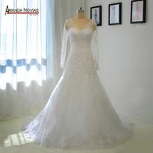 Vestido de novia con apliques de encaje de manga larga, muestras reales del 2019 100% igual que en las fotos