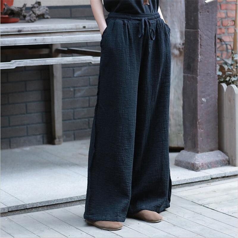 Women Cotton Linen Straight Long   Pants   New Summer Autumn Drawstring   Wide     Leg     Pants   Vintage Solid Simple   Pants   Plus Size M-7XL