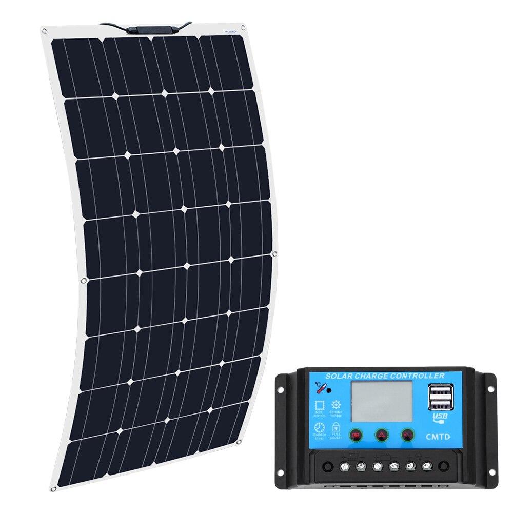 Boguang 16 v 100 w painel solar com controlador 10a sonnenkollektor 100 watt placa flexível solar 12v bateria monocristalina 100 w