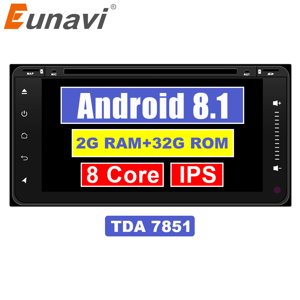 Eunavi 2 Din Android 8.1 Car DVD Player Rádio Stereo Navegação GPS Para Toyota Hilux Vios Camry Velho Rav4 Prado 2003-2008 bt wifi