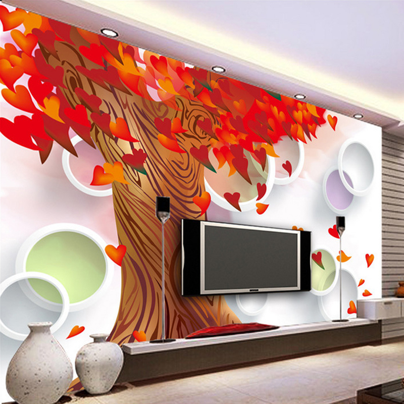 Custom 3D Wall Murals Wallpaper Red Maple Trees Love Heart Leaves Modern Living Room TV Background Mural Wall Papers Home Decor flame trees of thika
