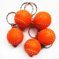 100 pcs/lot Fashion PUBaseball Key Chain  Yellow Romantic Keyring Car Key Chain Bag Key Rings Gifts Bright Chain Ring