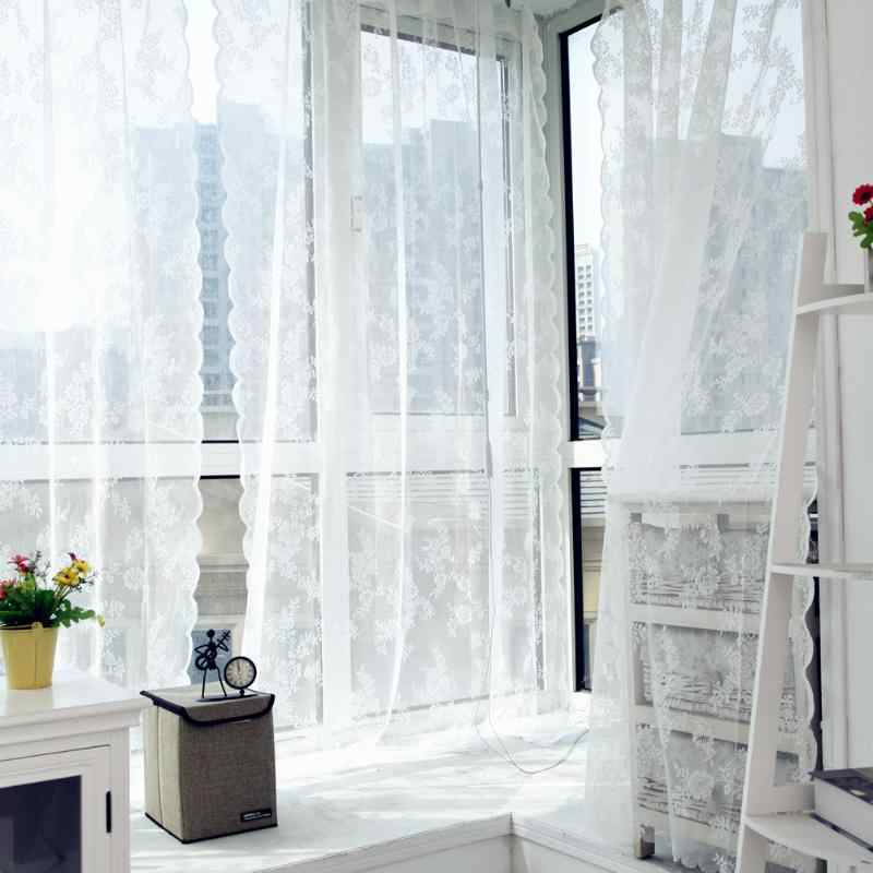 Lace Curtains Voile Tulle Curtains Door Window Sheer Curtain Insect Bed Canopy Netting Drape Panel Leaf for Living Room 145*180