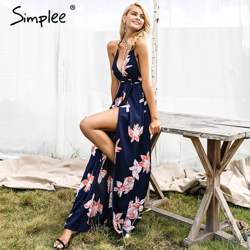 c74e2fefdf Simplee Boho deep v neck backless sexy dress Split cross lace up chiffon  summer beach long