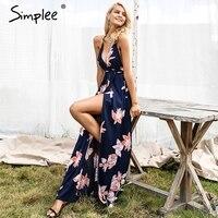 Simplee Boho Deep V Neck Backless Sexy Dress Split Cross Lace Up Chiffon Summer Beach Long
