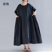 Women Summer Retro Pleated Dress Pocket Stitching Plus Size Linen Dresses Casual Loose Long Dress New Arrival 2019 4XL 5XL 6XL