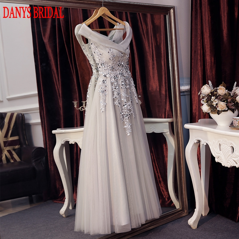 Elegant Gray Lace Evening Dresses Long Party on Sale Tulle Beaded ...