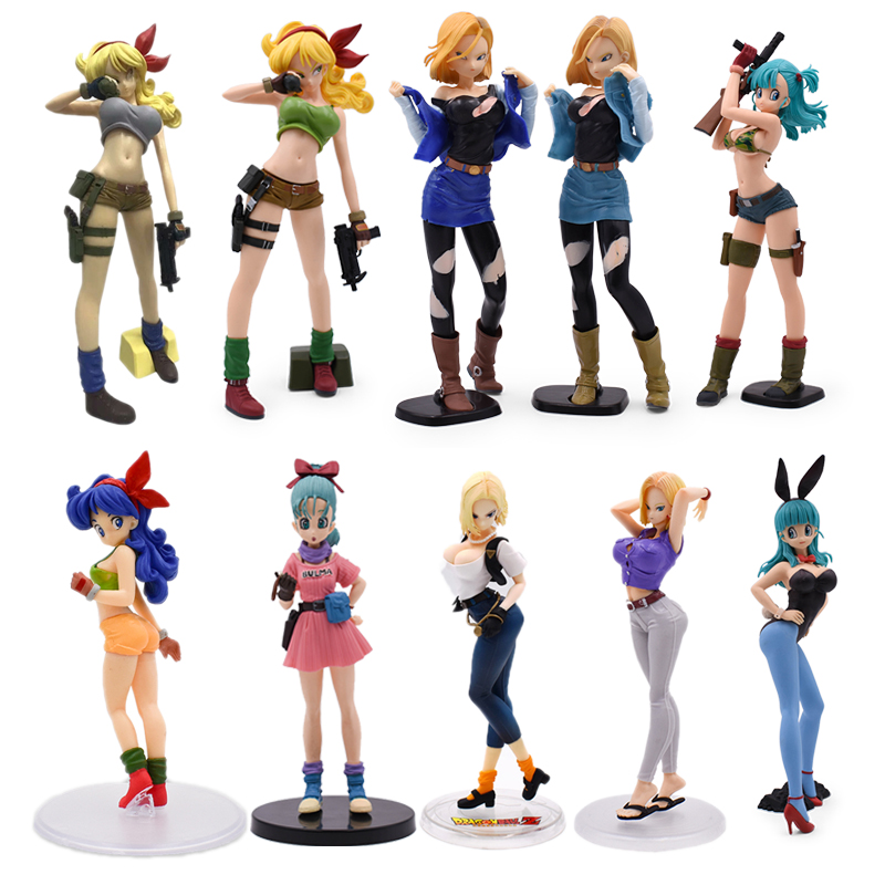 Anime Dragon Ball Z Bulma 18 Chichi Lunch Android 18 Lazuli Cartoon Action Figure PVC toys Collection figures for friends gifts(China)