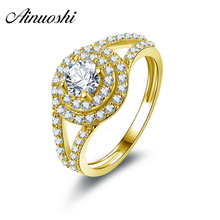 AINUOSHI 10K Solid Yellow Gold Wedding Rings Fashion Anel de ouro 2 Row Halo Simulated Diamond Shinning Engagement Rings Bague