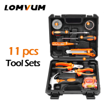 LOMVUM 11Pcs Tools Hand Tools Household Multifunction Hardware Tool Disassembling Repair Kit Box PortableHand Tool Sets