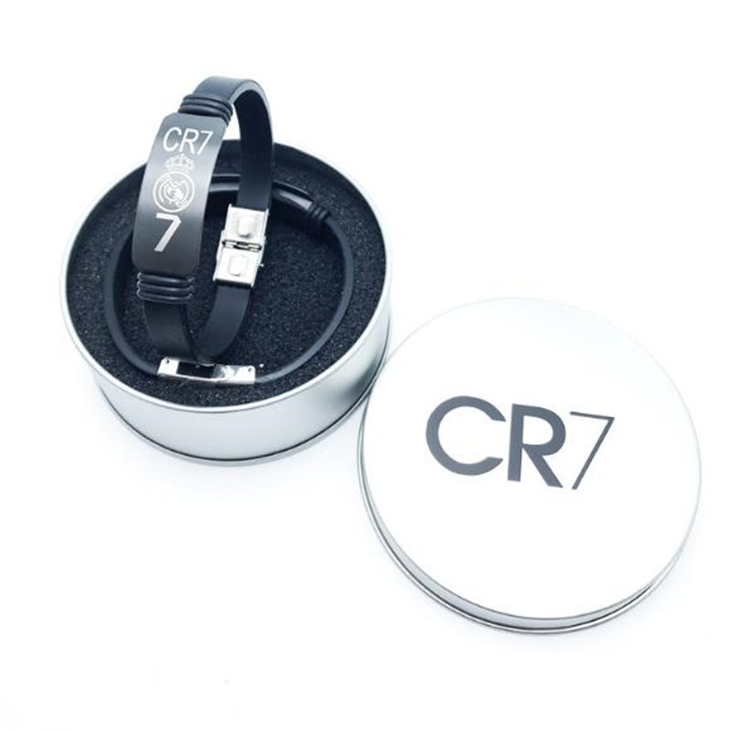 2pcs New Arrival Tin Box Pack Football Super Star Signature For Cr7 Bangle Stainless Steel Wristband Silicone Bracelet