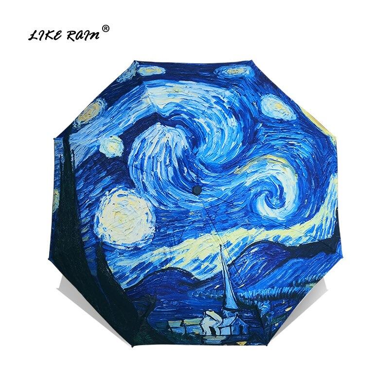 WIE REGEN Van Gogh Ölgemälde Regenschirm Regen Frauen Marke Paraguas Kreative Kunst Sonnenschirm Weibliche Sonne Und Regen Regenschirme YHS01