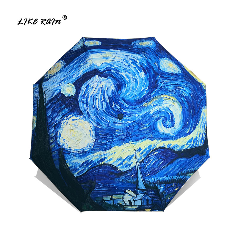 Como a Chuva de Van Pintura a Óleo Sombrinha de Artes Criativas das Mulheres Sol e Chuva Gogh Guarda chuva Chuva Paraguas da Marca Feminina Chuvas Yhs01