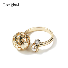 Tongbai Newest Hollow Golden ball Gold Color Opening Rings For Female Pave Eternity CZ Simulated pearls Fashion Women Jewelry