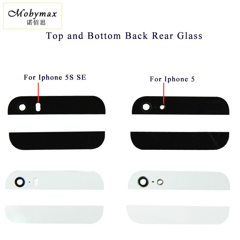Moybmax 1set Back Cover Glass Rear Housing For iPhone 5 5S SE Top And Bottom With Camera Flash lens Preinstalled 3M black/white