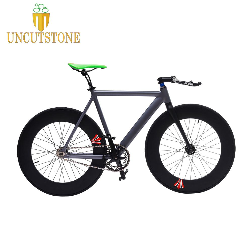 Fixed Gear Bike 54cm fame 90mm rim single speed bike Smooth Welding frame DIY Aluminum alloy Customize Track <font><b>Bicycle</b></font> <font><b>700C</b></font> <font><b>wheel</b></font> image