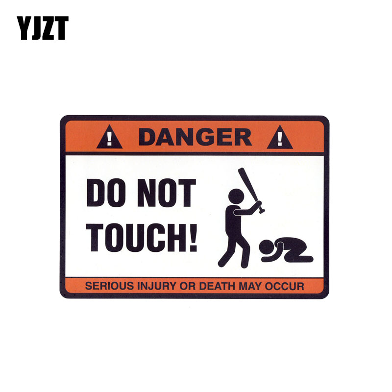 YJZT 14.7CM*10.2CM DANGER DO NOT TOUCH Car Sticker Funny Decal PVC 12-0914