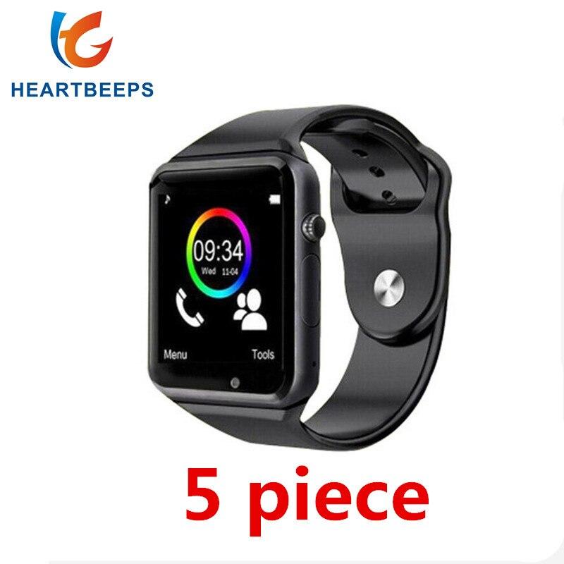 5 pièce Usine en gros prix A1 bluetooth montre smart watch pour android téléphone soutien SMI/TF hommes femmes sport montre-bracelet