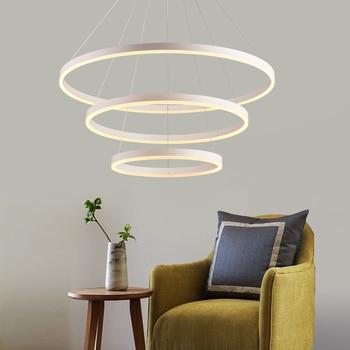 Modern led Chandelier For living room Dining bedroom ledlamp black/white rings suspension luminaire modern chandelier Lighting