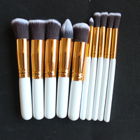DOWERME 10pcs Professional Soft Cosmetics Brushes Eyebrow Shadow Face Makeup Powder Brush Set Tools Kit Kryolan Gold/Sliver
