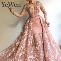 YeWen вечернее платье для мусульманских женщин Длинные рукава Кружева Вечерние платья 2019 новые цветы Кружева Аппликации v образный вырез жемч