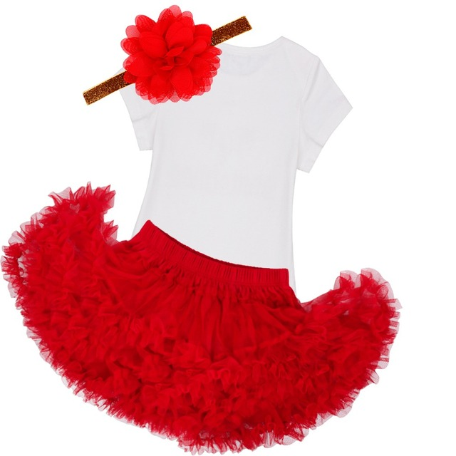 Christmas Romper With Skirt Headband 1