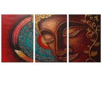 Visual Art Decor 3 Panels Canvas Wall Art,Large Size Peaceful Buddha Act with Compassion 3pcs Canvas Print,Water-proof Art
