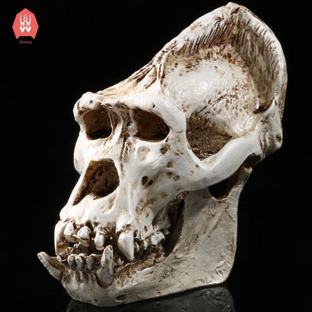 Resin Gorilla Skeleton Head Figurines Sculpture Chimpanzee Skull ...