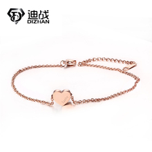 New Arrival Adjustable Length Bracelet & Anklets Rose Gold-color Stainless Steel Heart Love Anklets For Woman Jewelry