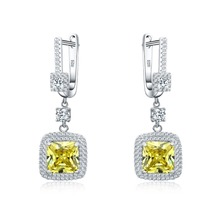 Hot Selling 925 sterling silver jewelry Yellow CZ earrings for women Top quality gift box
