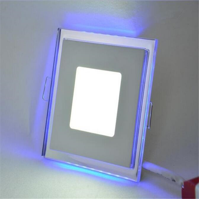 10W 15W 20W Square LED Recessed Down Light Ceiling Lamp Blue Frame And White Inside