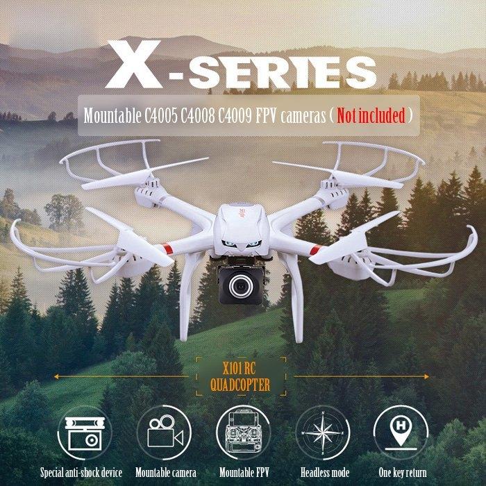 ФОТО Profession Drones MJX X101 Quadcopter 2.4g 6-axis Rc Helicopter Drone with Gimble can Add C4008 720P FPV Wifi Camera Vs X8c X8G