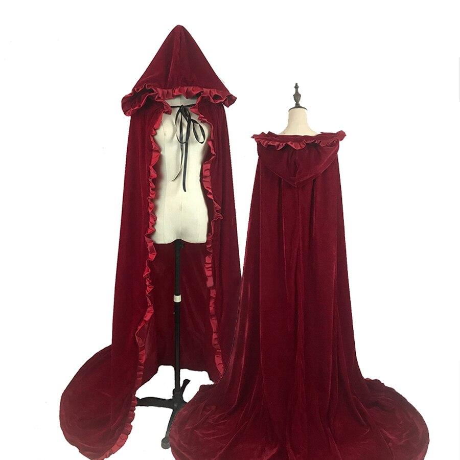 6 Color New Hooded Long Red Velvet Cloak For Adult Princess Snow White Belle Cinderella Princess