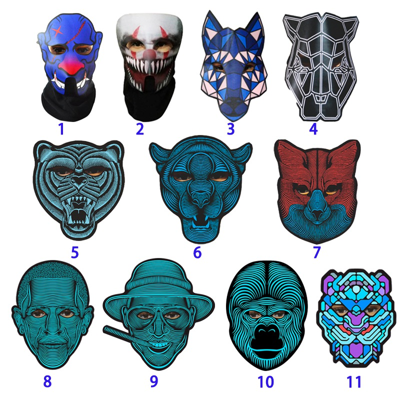 Halloween Full Face Dance Mask Voice LED Control Party Mask