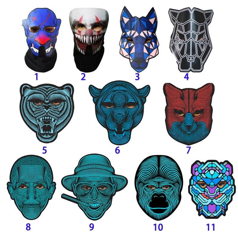 Halloween full face máscara de la danza voz control LED mascarada 3D máscaras de animales