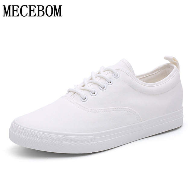 f9bba6b5642 Online Shop Men White Canvas Shoes Height Increasing Casual Shoes Men  Sneakers Lace-up Student Shoes chaussure hommesize 39-44 a573m