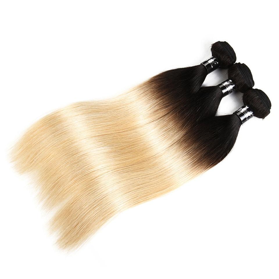 Sleek Hair Blonde Brazilian Straight Hair 3 Bundles Deal T1B 613 Remy Human Hair Hair Extensions 10 To 30 Inches Free Shipping (4)