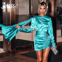 INDRESSME 2019 New Women Long Sleeve Asymmetric O Neck Bodycon Draped Dress New Vestidos Summer Party Club Dress With Crystal