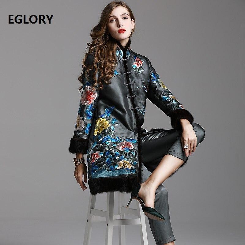 Top qualité marque Designer vêtements ensembles femmes luxueux broderie simple boutonnage manteau pardessus + mollet-longueur pantalon ensemble costume