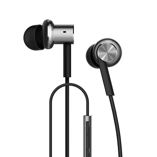 100% original xiaomi mi controle híbrido dual drivers fone de ouvido com fio microfone dinâmico e dois equilibrada-drivers de armadura