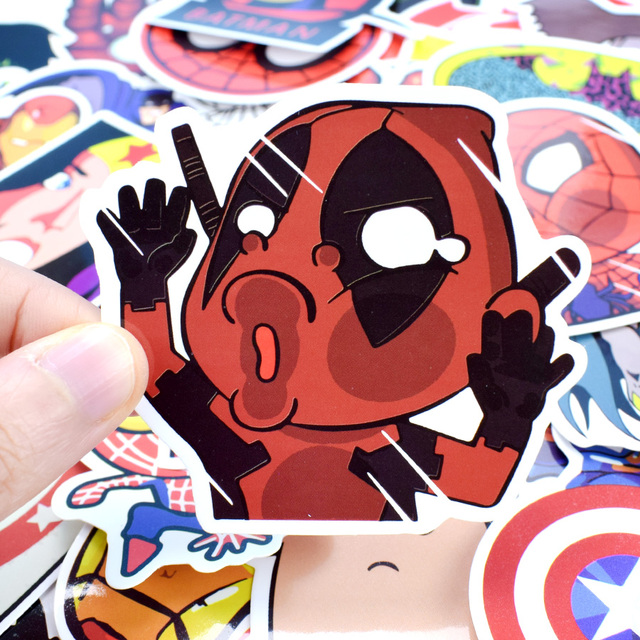 50 PCS Mixed Funny Anime Super Hero Stickers For Laptop Skateboard Etc. 3