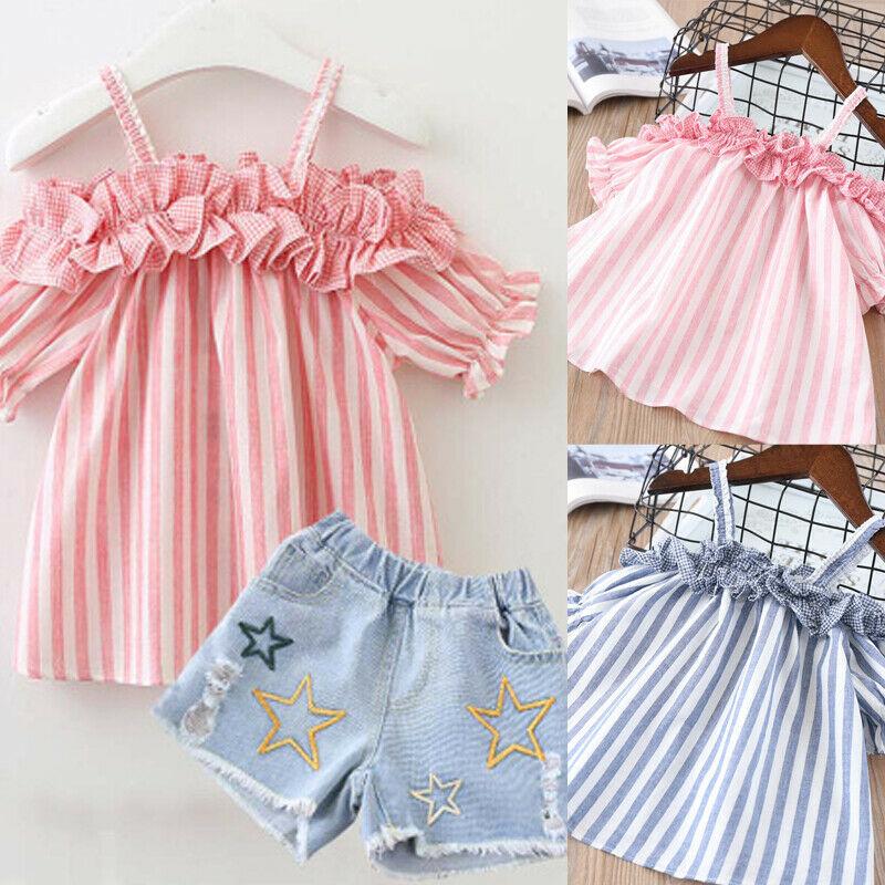 Denim Shorts Set 2pcs Kids Baby Girls Dress Summer Fashion Clothes Stripe Vest