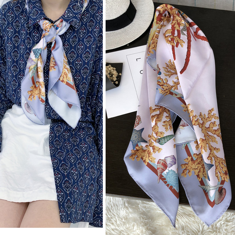 Stunning Croal Print 100 Twill Silk Scarf Shawl Women Luxury Silk Hijab Head Scarves 35 x