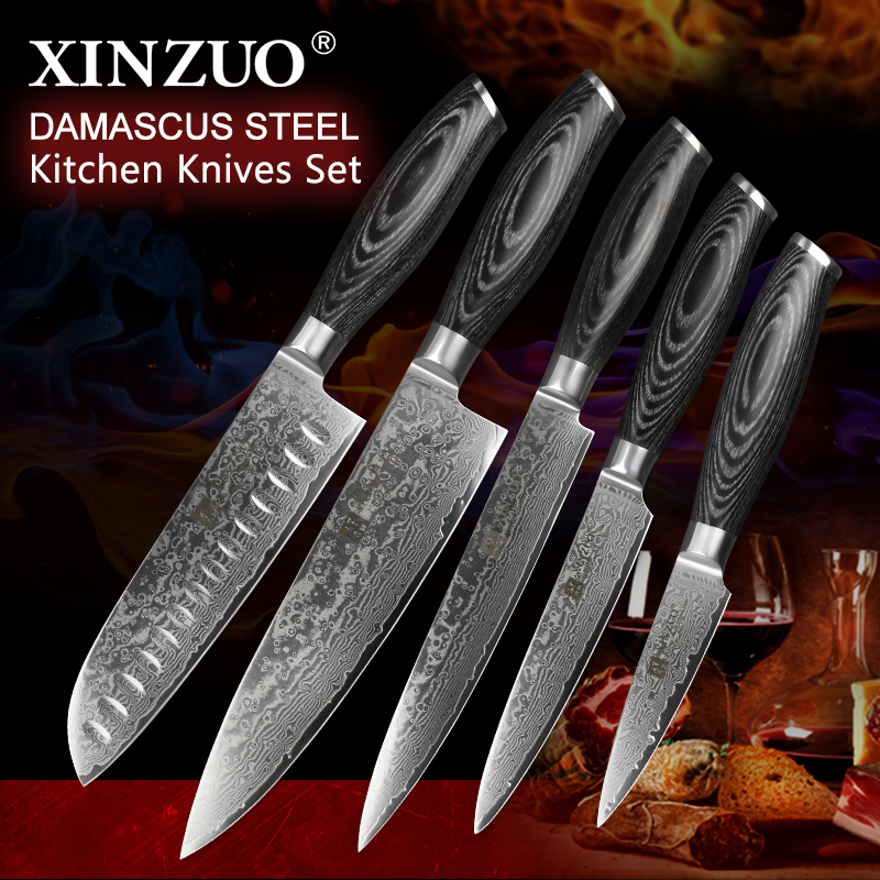 XINZUO 5 Pcs Kitchen Knife Set 67 layers Japanese Damascus Stainless Steel Santoku Cleaver Chef Paring Knives Pakkawood Handle