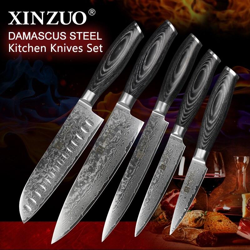 XINZUO 5 pcs Cuisine Couteau Ensemble 67 couches Damas Santoku En Acier Inoxydable Couperet Chef Utilitaire Couteaux à légumes Pakka Manche En Bois