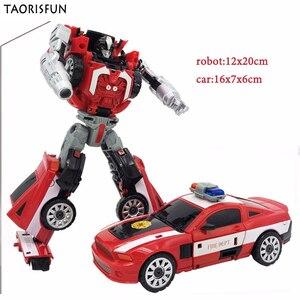 Image 2 - Taorisfun 합금 및 플라스틱 2 in 1 변형 로봇 자동차 차량 모델 완구 어린이 완구 소방차 변환 로봇