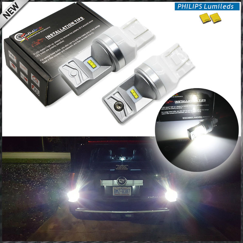2pcs 6000K Powered By Philips Luxen LED 7440 7443 T20 LED Bulbs For Turn Signal Lights, Daytime Running Lights, Reverse Lights 2pcs amber yellow 2835 smd 7443 7440 t20 7444na led bulbs for car led bulbs for front turn signal lights daytime running lights