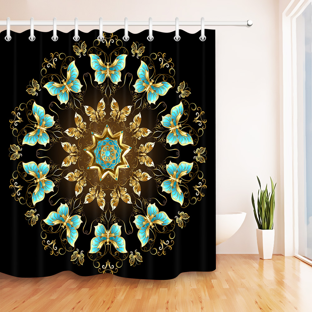 LB 72\'\' Gold Mandala Turquoise Butterfly Black Shower Curtains ...