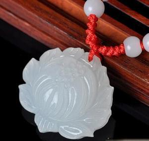 Красивая подвеска ввиде цветка лотоса ручной работы из натурального белого Jadee, резные подвески, украшения