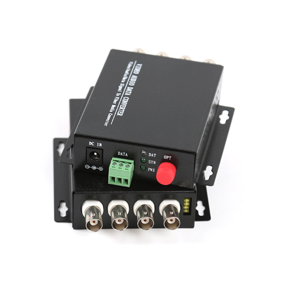 4 CH Video Fiber Optical Media Converters 4 BNC Transmitter Receiver RS485 Data Single mode 20Km